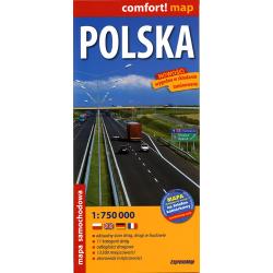 Polska - mapa samochodowa laminowana